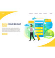 book flight online landing page website vector image vector image