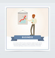 businessman making presentation explaining growth vector image vector image