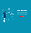 businesswoman character an technology concept vector image vector image