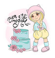 cake girl color set vector image vector image