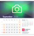calendar for september 2018 week starts on sunday vector image vector image