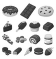 chocolate dessert monochrome icons in set vector image vector image