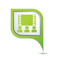 cinema icon on green map pointer vector image vector image