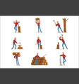 classic american lumberjack in checkered shirt vector image vector image