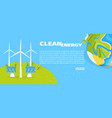 clean energy with solar panels and planet poster vector image