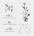 cotton flower hand drawn logo templates vector image