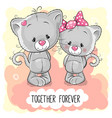 cute cartoon kittens boy and girl vector image vector image