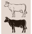 dairy cow logo farm livestock or milk vector image