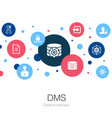 dms trendy circle template with simple icons vector image vector image
