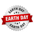 earth day round isolated silver badge vector image vector image