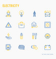 electricity thin line icons set vector image