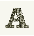 Elegant capital letter A in the style Baroque