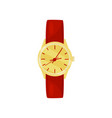 elegant wrist watch with bright red strap and vector image vector image