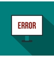 Error sign on a monitor icon flat style vector image