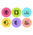 Face detect head and uv protection icons set oil