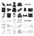 films and cinema black icons in set collection for vector image vector image