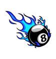 flaming billiards eight ball cartoon vector image