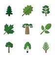 flat icon ecology set of oaken park baobab and vector image vector image
