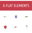 flat icons revolver protection gem and other vector image vector image