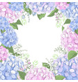 floral frame with hydrangea flowers vector image
