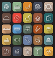 Food line flat icons with long shadow vector image vector image