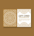 gift card with mandala certificate with ornament vector image