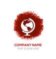 Globe icon - red watercolor circle splash