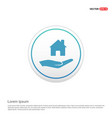 hands holding house icon - white circle button vector image vector image