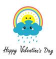 happy valentines day sun cloud rainbow rain set vector image vector image