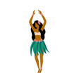 hawaiian hula girl dancer character in skirt flat vector image vector image
