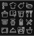 kitchen and cooking icons set on black background vector image vector image