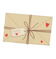 love letter with decorative hearts and threads vector image