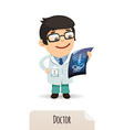 male doctor looking at x ray vector image vector image