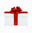 modern red bow with white gift box vector image vector image
