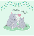 mothers day card happy rhino and baby cartoon vector image vector image