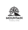 mountain with compass logo template vector image vector image