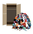 pile of messy girl or lady clothes gotten out of vector image vector image