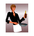 Portrait of man holding wine bottle vector image vector image