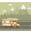 road traveler truck driving on road in mountain vector image