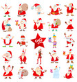 santa claus christmas characters cartoon set vector image