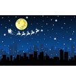 Santa Flying with sledge on Night City vector image vector image