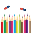 set colored pencils with erasers vector image