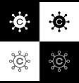 set copywriting network icons isolated on black vector image