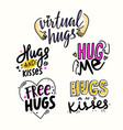 set lettering with hugs and kisses hand drawn vector image