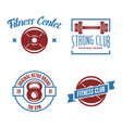 set of fitness emblems signs labels badges vector image