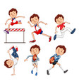 set of male athlete vector image vector image