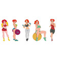 sport set of beautiful sexy athletic girls vector image