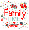 time for family lettering christmas - hand drawn vector image vector image