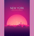 travel poster futuristic retro skyline new york vector image vector image
