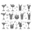 tropical cocklails glyph icons vector image